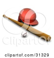 Clipart Illustration Of A Baseball Resting By A Wooden Bat And A Red Helmet by KJ Pargeter