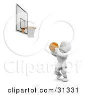 Clipart Illustration Of A White Character Holding A Basketball Aiming Towards A Hoop by KJ Pargeter
