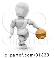 White Character Dribbling A Basketball On The Court