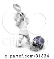 Clipart Illustration Of A Happy White Character Showing Off His American Football Championship Trophy by KJ Pargeter
