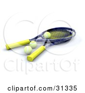 Clipart Illustration Of Two Tennis Rackets With Three Yellow Balls by KJ Pargeter