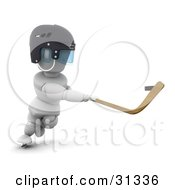 Clipart Illustration Of A White Character In A Helmet Swinging A Hockey Stick To Whack The Puck by KJ Pargeter