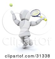 Clipart Illustration Of A White Character Serving Tossing A Tennis Ball And Preparing To Hit It With A Racket by KJ Pargeter