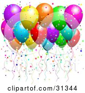 Clipart Illustration Of A Bunch Of Floating Party Balloons With Confetti At A Party by KJ Pargeter