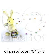 Clipart Illustration Of A Yellow 3d Easter Bunny Carrying A Basket And Leaving A Trail Of Eggs by KJ Pargeter