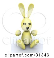 Clipart Illustration Of A Yellow 3d Easter Bunny With Stitched Eyes by KJ Pargeter