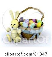 Clipart Illustration Of A Yellow 3d Easter Bunny Resting Against A Basket Full Of Colorful Easter Eggs by KJ Pargeter