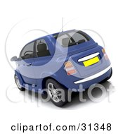 Clipart Illustration Of A Blue Compact Car With Slightly Tinted Windows