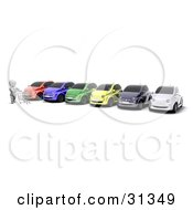 Clipart Illustration Of A White Character Pushing A Shopping Cart Along A Row Of Cars At A Lot by KJ Pargeter