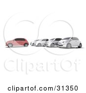 Clipart Illustration Of A Red Car In Front Of A Row Of Silver Cars At A Lot