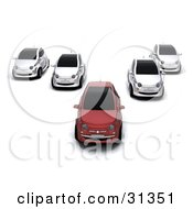 Clipart Illustration Of A Red Compact Car Leading Four Other Cars by KJ Pargeter