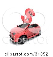 Clipart Illustration Of A Red Dollar Sign Crashing Down On Top Of A Red Car Symbolizing Car Insurance Rates Accidents Or The Crashing Economy