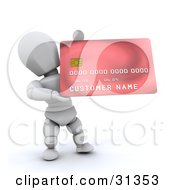 White Character Presenting A New Red Credit Card