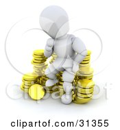 White Character In Thought Sitting On A Stack Of Coins Symbolizing Debt Investments Or Savings by KJ Pargeter