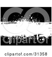 Clipart Illustration Of A Blank White Grunge Text Box With Dripping Ink And Splatters On A Black Background