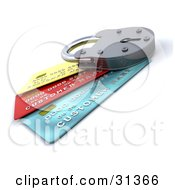 Clipart Illustration Of A Locked Padlock On Top Of Blue Red And Yellow Credit Cards Symbolizing Security Https And Debt by KJ Pargeter