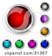 Set Of Shiny Red Blue Green Purple Pink Orange And Black Internet Buttons Framed In Chrome