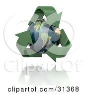 Clipart Illustration Of A Globe With The American Continents Featured Circled By Green 3d Arrows by KJ Pargeter