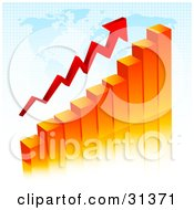 Clipart Illustration Of An Orange Bar Graph With An Arrow Showing An Increase Over A Blue Map by KJ Pargeter