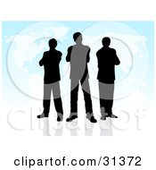 Clipart Illustration Of A Group Of Black Silhouetted Businessmen Standing On A Reflective Surface With A Blue Map Background by KJ Pargeter