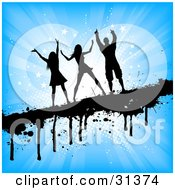 Clipart Illustration Of A Black Silhouetted Man And Two Ladies Dancing On A Dripping Black Grunge Bar Over A Bursting Blue Starry Background