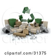 Clipart Illustration Of 3d Recycle Arrows Above Aluminum Cardboard And Trash Cans by KJ Pargeter