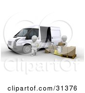 Manager Taking Inventory On A Clipboard While A Worker Unloads Shipping Boxes From A Van