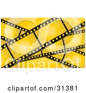 Clipart Illustration Of Three Grungy Blank Film Strips With Scratches On A Yellow Background by KJ Pargeter