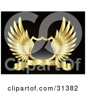Clipart Illustration Of A Black Shield With Golden Wings And A Blank Banner On A Black Background