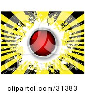 Clipart Illustration Of A Shiny Red Button Over A White Yellow And Black Bursting Grunge Background by KJ Pargeter