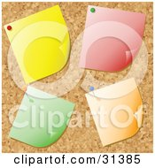 Clipart Illustration Of Four Blank Yellow Red Green And Orange Notes Tacked Onto A Cork Bulletin Board by KJ Pargeter