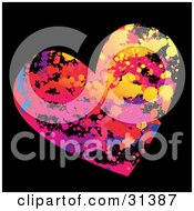 Clipart Illustration Of A Colorful Blue Red Pink Purple Blue And Yellow Grunge Heart On A Black Background