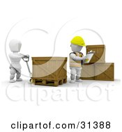 Manager Writing Inventory Down While A Worker Moves Crates