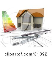 Clipart Illustration Of A Colorful Energy Graph On Blueprints By A Model Home With Architect Tools