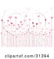 Clipart Illustration Of A Background Of Pink And Purple Hearts Growing On Tall Stems