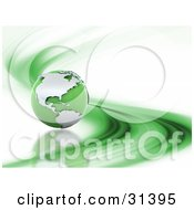 Clipart Illustration Of A Green 3d Globe On A White Background With A Dash Of Green