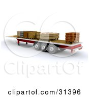 Clipart Illustration Of A 3d Lorry Trailer With Crates Stacked On The Flat Surface