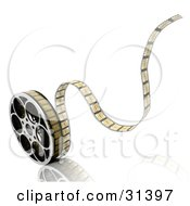 Clipart Illustration Of Tape Rolling Off Of A Film Reel On A White Background With A Reflective Surface