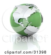 Clipart Illustration Of A Green And Chrome 3d Globe On A Reflective Surface