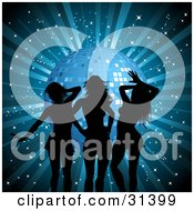 Clipart Illustration Of Three Sexy Ladies Silhouetted In Black Against A Blue Background With A Disco Ball And Glittering Stars by KJ Pargeter