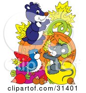 Blue Bird Mouse And Gopher On Top Of Veggies And Fruit In Front Of A Pumpkin
