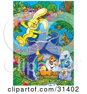 Poster, Art Print Of Energetic Yellow Bunny On Top Of A Pail Converted Into A Club House A Cat Inside