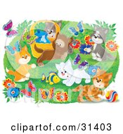Poster, Art Print Of Group Of Kittens Playing With A Toy Fish And Chasing Butterflies Outdoors In A Flower Garden