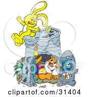 Clipart Illustration Of A Cute Cat Inside A Pail Club House A Yellow Bunny Sitting On Top