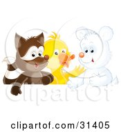 Clipart Illustration Of A Cute Badger Duck And White Bear Cub by Alex Bannykh