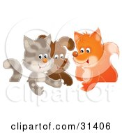 Clipart Illustration Of A Cute Cat Puppy And Fox Chatting In A Group