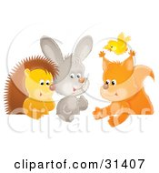 Yellow Bird Flying Over A Squirrel Rabbit And Hedgehog Chatting At A Table