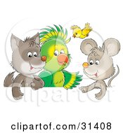 Clipart Illustration Of A Cute Baby Wolf Parrot Yellow Bird And Mouse Chatting by Alex Bannykh