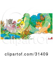 Clipart Illustration Of A Cute Wolf Holding Flowers A Frog On A Lily Pad Bunny Sitting On A Stump With A Carrot And Fox Chatting With A Bird by Alex Bannykh