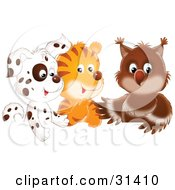 Clipart Illustration Of A Spotted Puppy Tiger And Baby Owl In A Group by Alex Bannykh